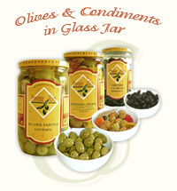 Olives & Condiments in Glass Jar